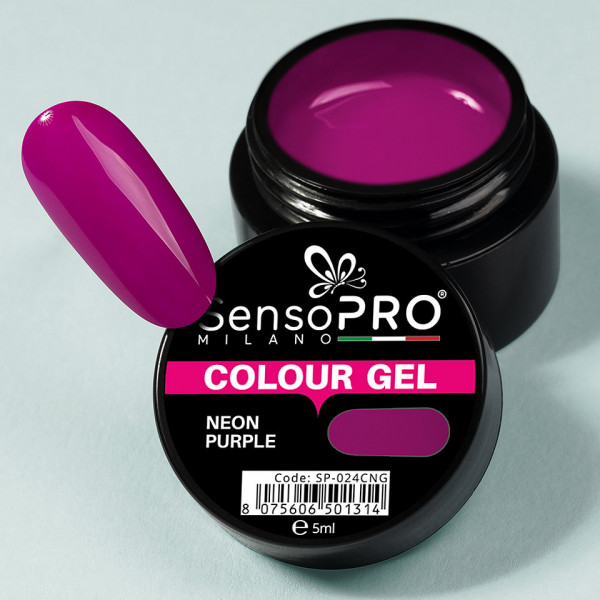 Poze Gel UV Colorat Neon Purple 5ml, SensoPRO Milano