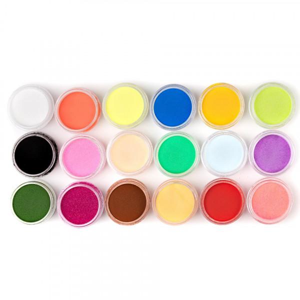 Poze Pudra Acrilica colorata - Set 18 bucati a cate 6 g