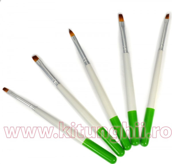 Poze Set 5 Pensule Manichiura Unghii False - Green Touch