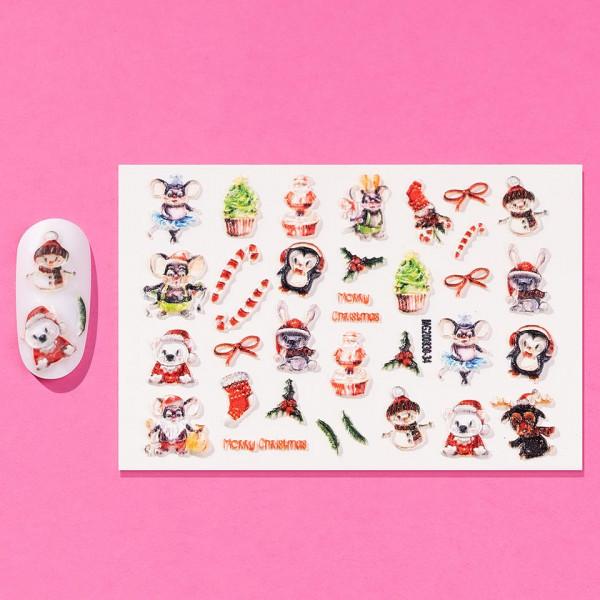 Poze Tatuaj 3D Unghii LUXORISE Winter, Happy Christmas 830-34