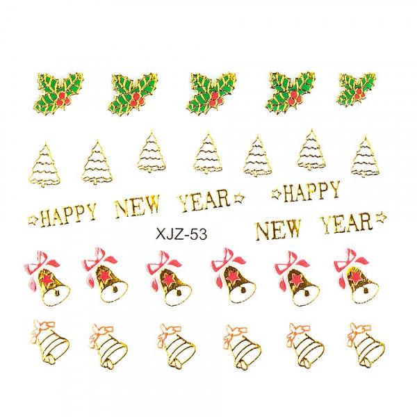 Poze Sticker 3D Unghii LUXORISE XJZ-53, Christmas Collection