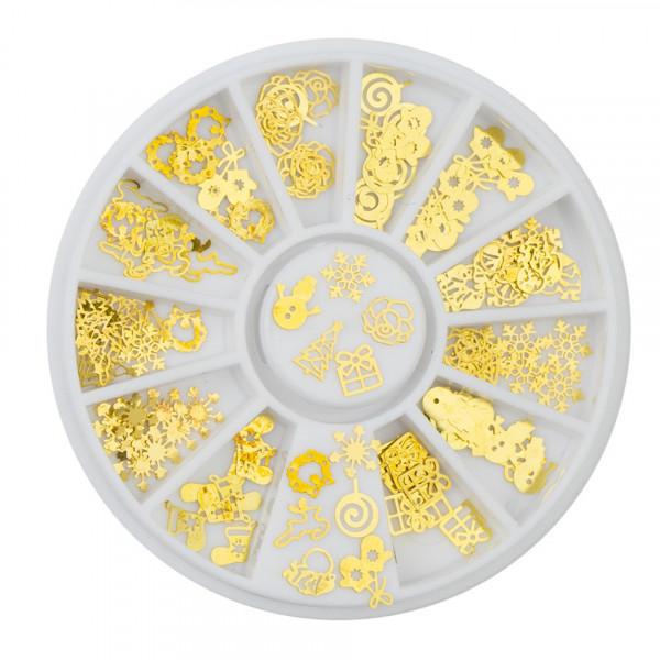 Poze Strasuri unghii Gold Christmas - Pietre unghii