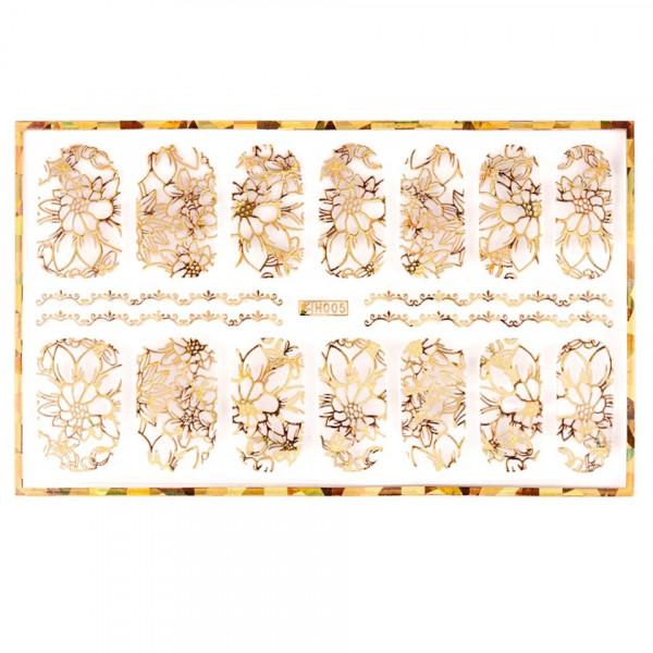 Poze Abtibild unghii cu modele florale aurii H005