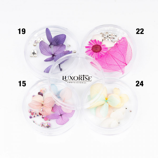 Poze Flori Uscate Unghii LUXORISE cu cristale - Floral Fairytale #15