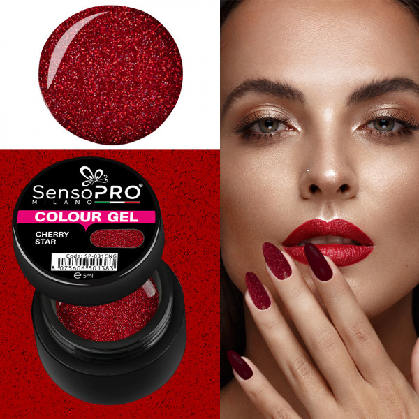 Poze Gel UV Colorat Cherry Star 5ml, SensoPRO Milano