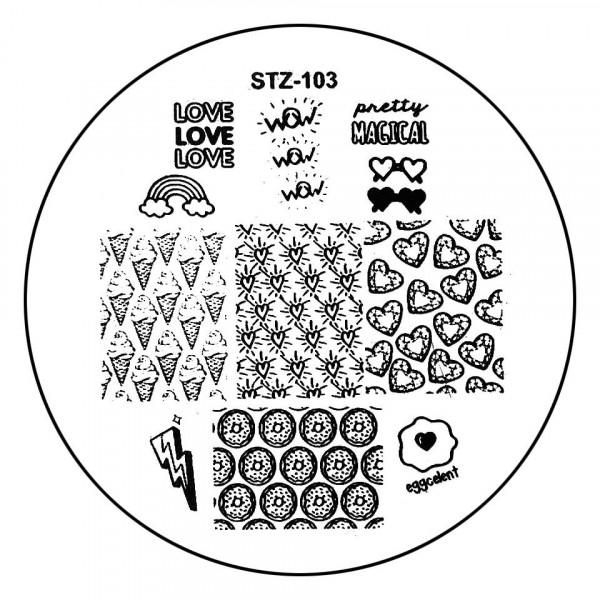 Poze Matrita Metalica Stampila Unghii STZ-103 - Love Story