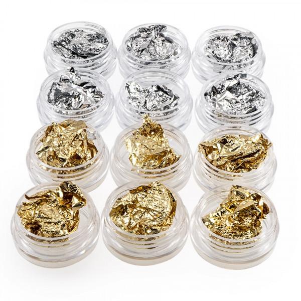 Poze Set 12 Foite Creponate Unghii, aurii si argintii