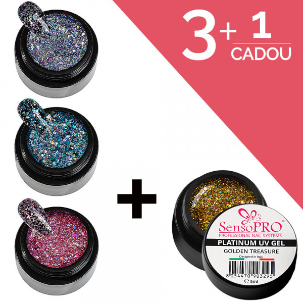 Poze Set Unghii Gel Platinum SensoPRO 3+1 Cadou