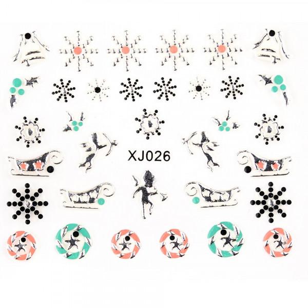 Poze Folie Sticker 3D unghii, model XJ026