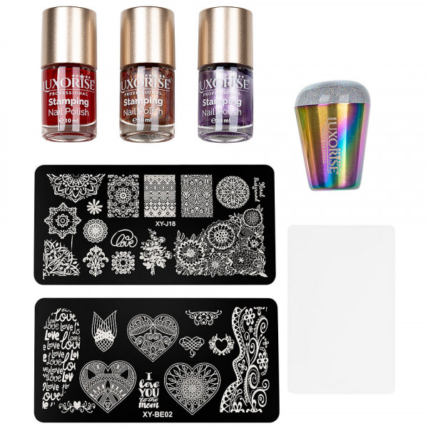 Poze Kit Nail Art cu Stampila, Oja LUXORISE, Matrita - Iconic Nails