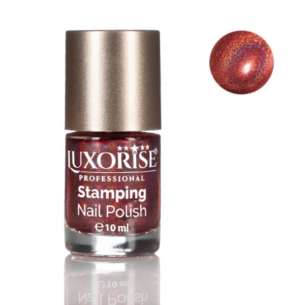 Poze Oja Stampila Unghii - Holografica LUXORISE, Sparking Orange #07
