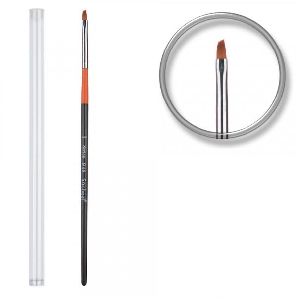 Poze Pensula unghii aplicare gel UV nr.1 cu etui tubular - Orange Brush
