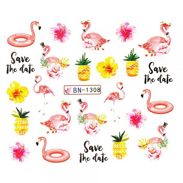 Poze Tatuaj unghii LUXORISE, Flamingo BN-1308
