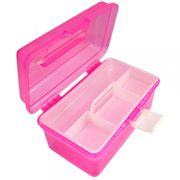 Poze Cutie Manichiura Compartimentata Roz, cu un Sertar si Maner