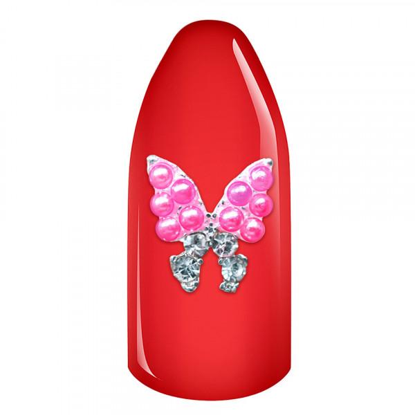 Poze Decoratiuni Unghii 3D - Fluturas cu perle roz si strasuri