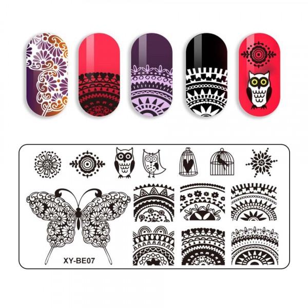 Poze Kit Nail Art cu Stampila, Oja LUXORISE, Matrita - Paradise Glow Nails