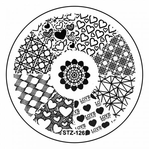 Poze Matrita Metalica Stampila Unghii STZ-126 - Love Story