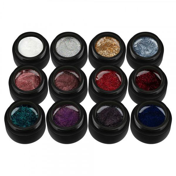 Poze Set 12 Geluri UV Colorate Glitter Treasure Collection, SensoPRO Milano