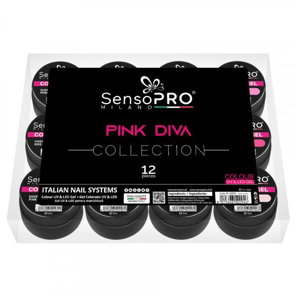 Poze Set 12 Geluri UV Colorate PINK DIVA Collection, SensoPRO Milano