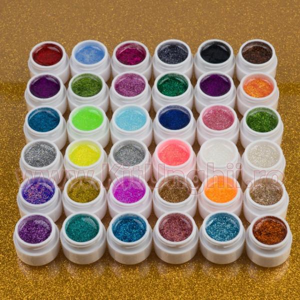 Poze Set 36 geluri UV Color cu Sclipici ENS PRO + CADOU