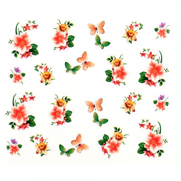 Poze Tatuaj unghii A017 flori si fluturi