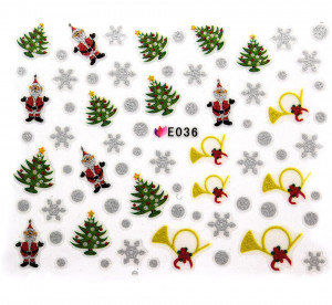 Folie Sticker 3D unghii, model E036 - Winter Gifts