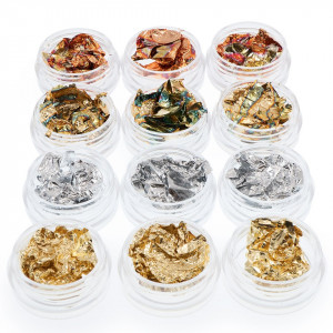 Set 12 Foite Creponate Unghii, aurii, argintii, cupru