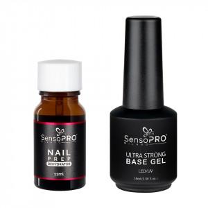 Set Nail Prep Dehydrator + Ultra Strong Base Gel SensoPRO Milano