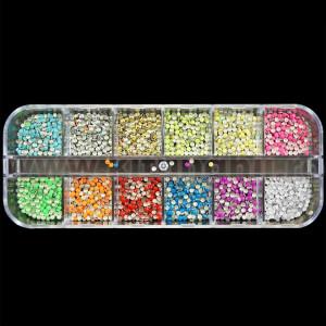 Strasuri Unghii Circulare diverse Culori Neon - Set 12 bucati