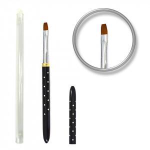 Pensula unghii aplicare gel cu strasuri Nr. 6 - Black Luxury