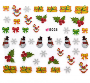 Folie Sticker 3D unghii, model E028 - Christmas Bows