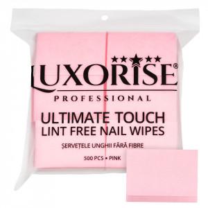 Servetele Unghii Ultimate Touch LUXORISE, Strat Dublu 500 buc, Roz