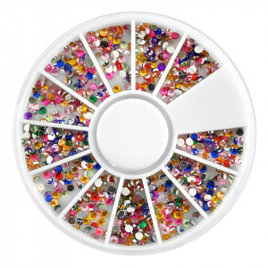 Strasuri Unghii Circulare Mici Diverse Culori - Carusel Strasuri