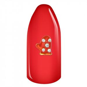 Decoratiune unghii 3D - Christmas Glove cu strasuri transparente #01