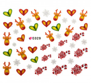 Folie Sticker 3D unghii, model E029 - Christmas Sweets