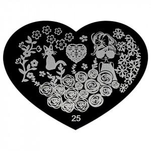 Matrita Metalica Stampila Unghii Hearts #25