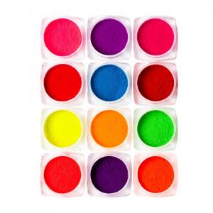 Pigment Neon Unghii LUXORISE - set 12 bucati