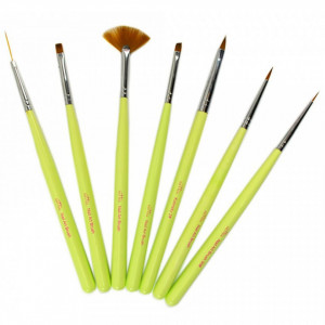 Set 7 Pensule Manichiura Unghii False, Pictura Unghii - Apple Green