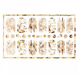 Abtibild unghii cu modele florale aurii H007