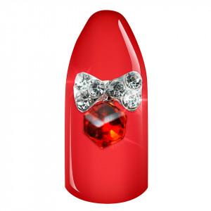 Decoratiune Unghii 3D - Fundita cu stras rosu 01