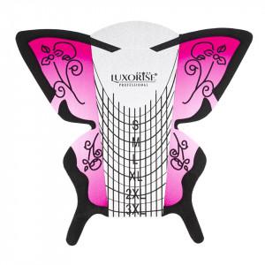 Sablon Constructie Unghii Fluture Roz LUXORISE, 50 buc