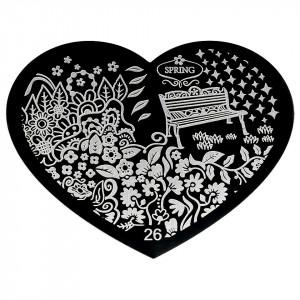 Matrita Metalica Stampila Unghii Hearts #26