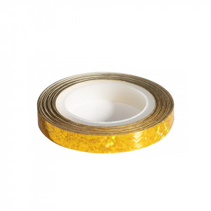 Banda Decor Unghii - Holografic Gold Waves Line