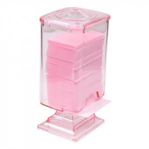 Dispenser servetele unghii din plexiglas cu capac, roz