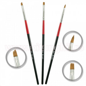 Set 3 Pensule Manichiura Unghii False - Red and Black striped