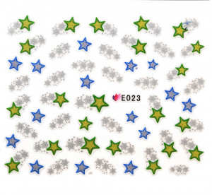 Folie Sticker 3D unghii, model E023 – Shining Stars
