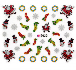 Folie Sticker 3D unghii, model E033 - New Christmas