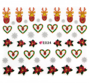 Folie Stickere 3D unghii, model E034 - Christmas Hearts