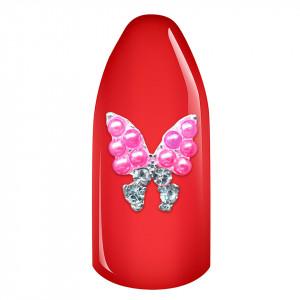 Decoratiuni Unghii 3D - Fluturas cu perle roz si strasuri