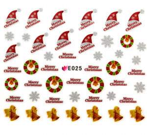 Folie Sticker 3D unghii, model E025 – Merry Christmas